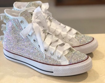 Rhinestone Converse Shoes bling converse sparkle AB crystal high top  converse sneaker Shoes satin lace ribbon 02fc8061f9ca