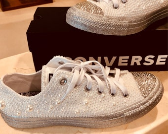 All white Converse   Sliver Glitter with Pearls 81f6d4287