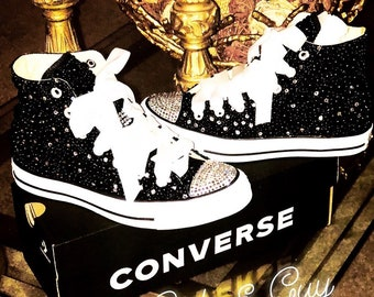 a8e1967494c001 Black Bling   Pearls High Tops Chucks