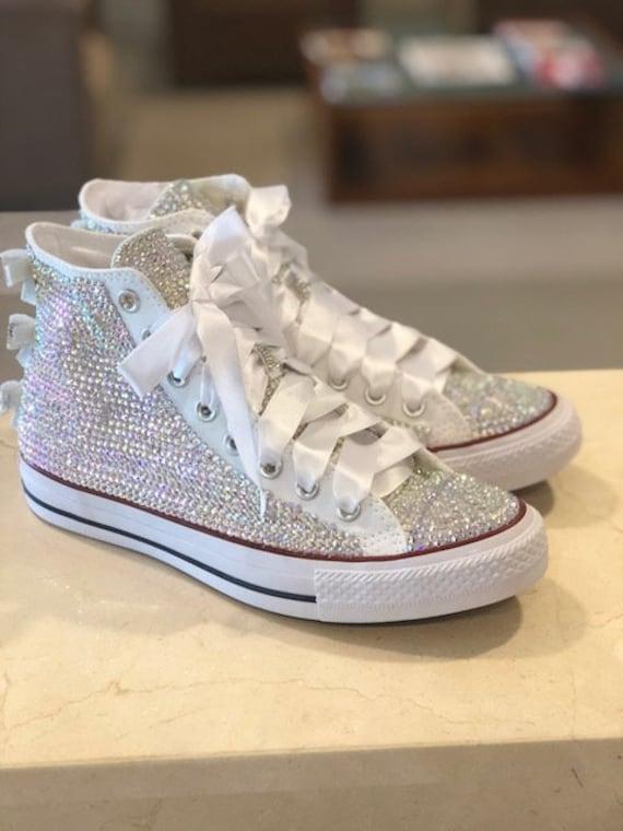f6856f436ea7 Rhinestone Converse Shoes bling converse sparkle AB crystal
