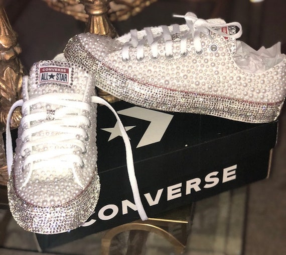 Bridal Pearl and Crystal Rhinestones Covered the entire bottom Shoes ... f85d582844