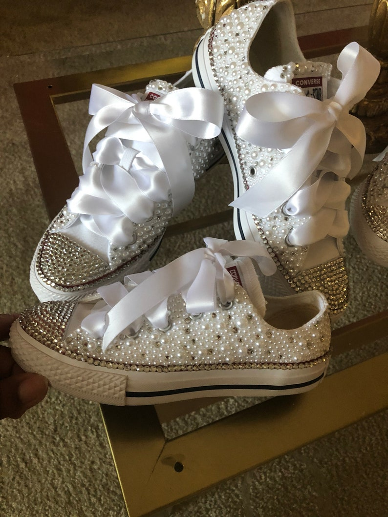 d677a377314ab7 Custom Bridal Converse Wedding Shoes Swarovski Crystal