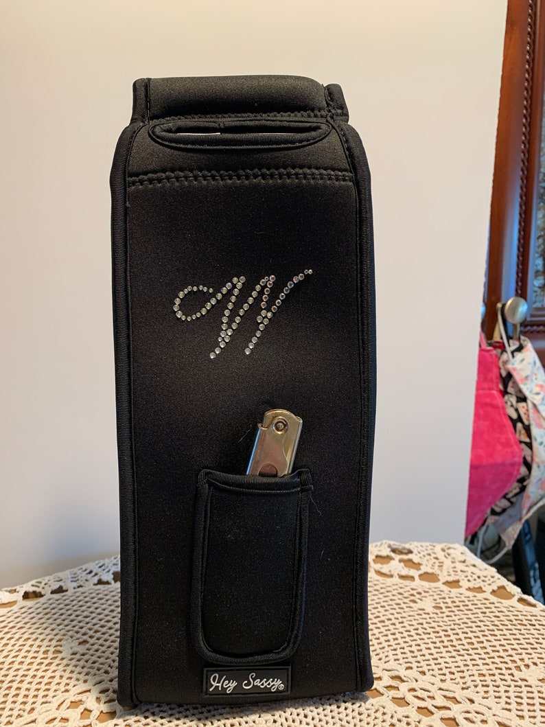 Valentine Wine Tote Single wine tote with Monogram and corkscrew one side and Wine Kisses Reverse Side