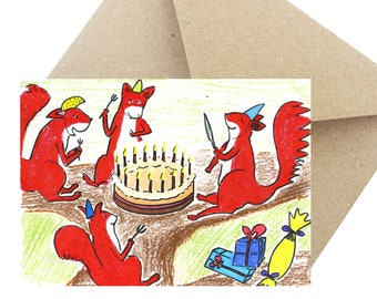 "Postcard birthday Gift ""party in the Cherry Tree"""