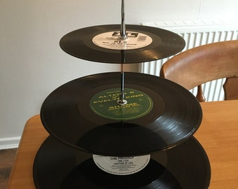 Three-Tier Record Cake Stand, Afternoon Tea, Early 90's Classics, Rave, One Off, Home Warming, Present, Wedding Gift,