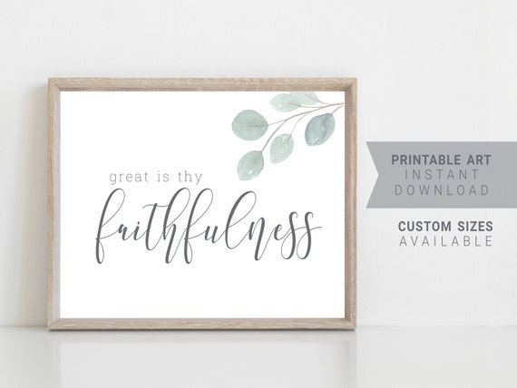 Printable Christian Wall Art Great Is Thy Faithfulness Hymn Wall Decor Greenery Inspirational Quotes Instant Digital Download JPEG