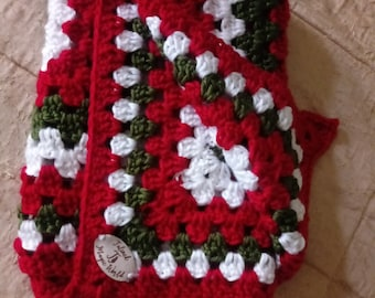 22' granny Christmas square blanket soft mat crochet cat blanket crochet pet blanket granny square  pet blanket katzendecke christmas gift