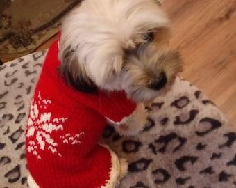shih tzu sweater dress  turtleneck dog sweater pet sweater  dog sweater  christmass crochet christmas dog jacket christmas jumper
