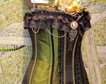 Steampunk Victorian Corset green taffeta and black lace