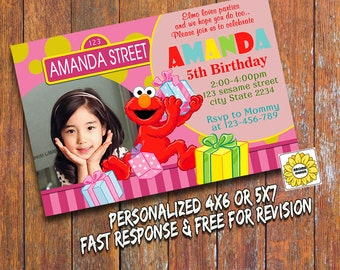 Sesame Street Invitation,Sesame Street Printable,Sesame Street,Elmo Invitation,Elmo Printable,Personalized Birthday Invitation
