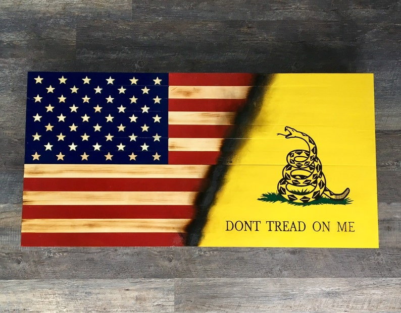 Rifle Gun Safe Wooden American Flagdont Tread On Me Charred Gun And Valuable Hidden Storage American And Gadsden Flag Shotgun Safe