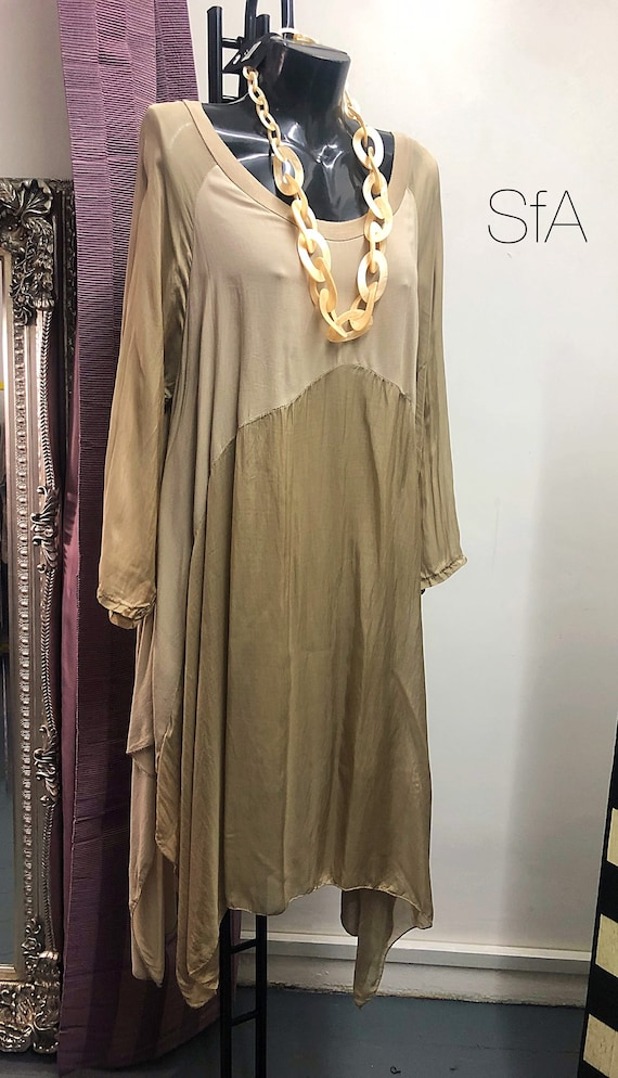 Lagenlook gold silk and cotton blend dress or tunic, lined to the knee. Size 12-20 XXXL