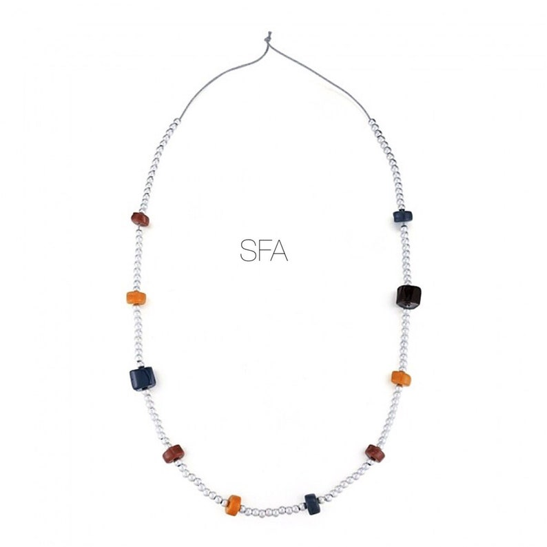 with a pale grey thread, Lagenlook quirky long or short Ceramic and silver Beaded necklace