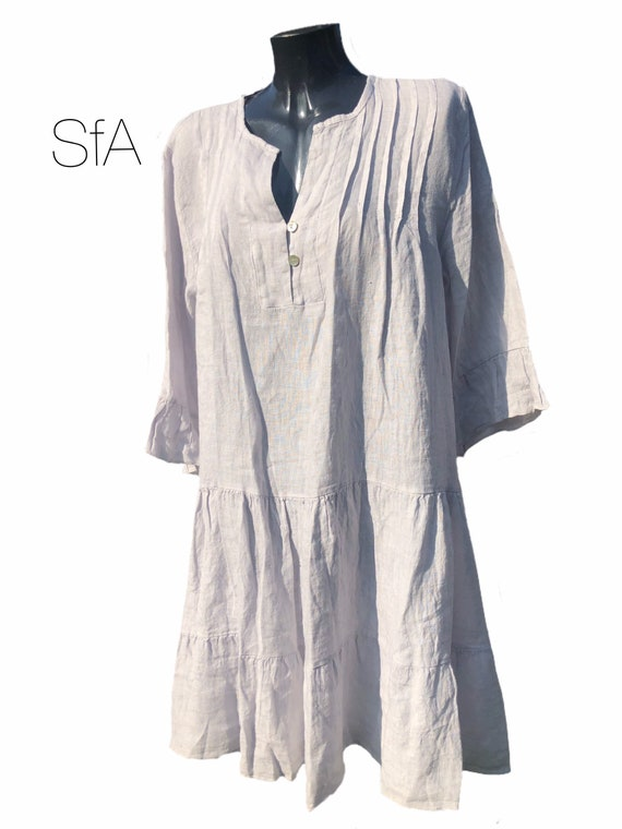 Lagenlook quirky linen tunic or dress, with frill collar and hem and pleated front. Size 5XL