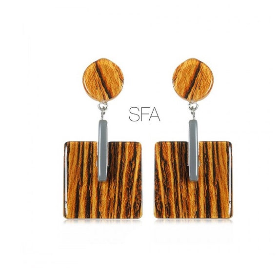 Lagenlook Geo black and golden brown, with grey strip, acrylic earrings. For pierced ears.