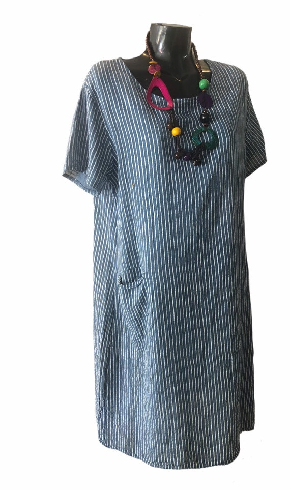 Lagenlook cotton dress, in 4 pinstripped colours, plus size.