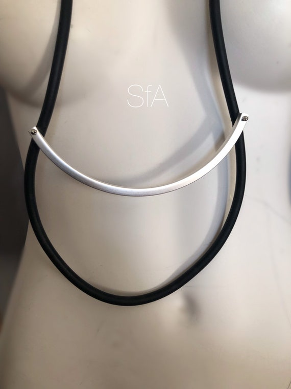 Long geometric necklace, fabulous lagenlook, in black and frosted grey bar, geo, minimalist.