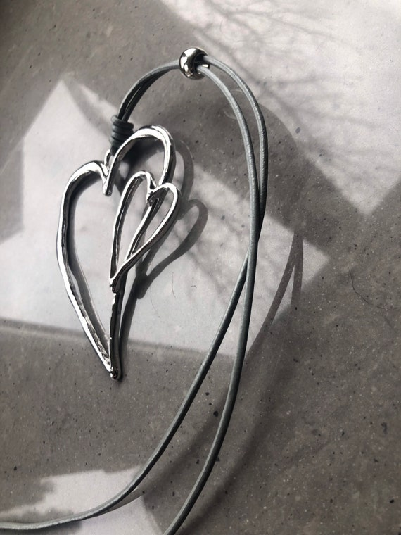 Lagenlook quirky, classic double large heart pendant on long leather thread or chain, in silver, black or grey.