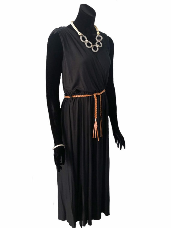 Size 2XL Lagenlook Cowl neck dress with corded central panel and pockets