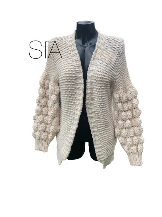 Cardigan, quirky Bubble Sleeve Cardigan, Soft Texture, Size 10-14, Full Sleeve, limited addition.