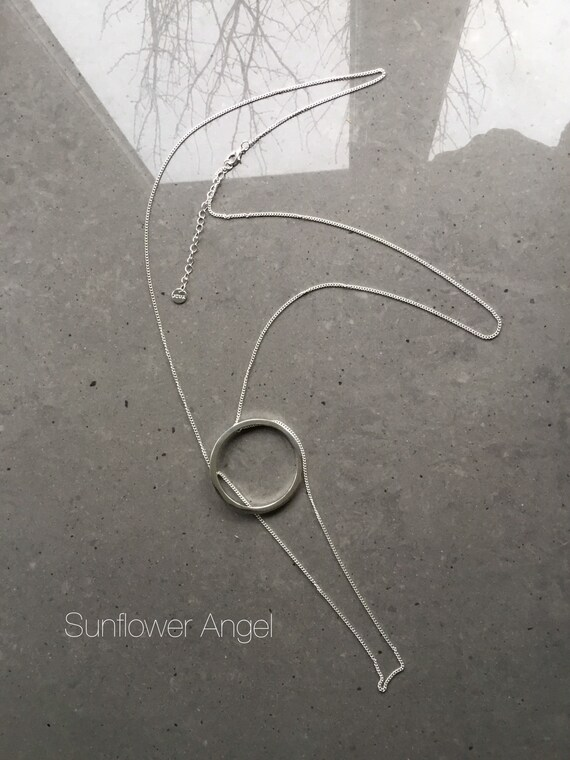Long silver plated geo circle necklace