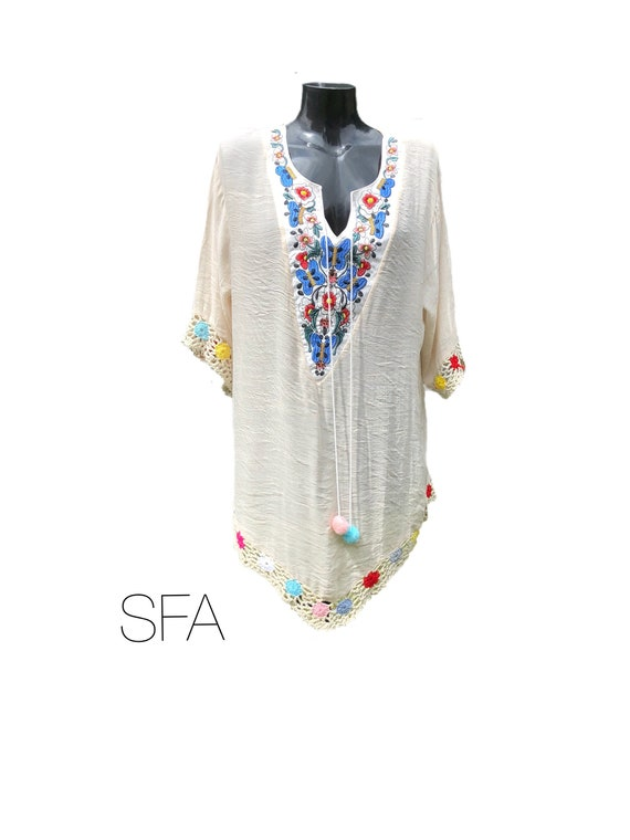 Boho hippy tunic, with a lovely silky feel. With embroidery and beaded front panel. Size XXL