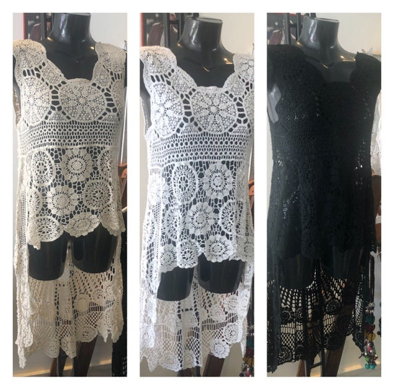 High low crochet tunic, in 3 differnt colours, perfect as an over top. Size 10-14