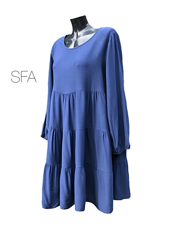 Lagenlook smock tunic or dress, in 7 new season colours. XL