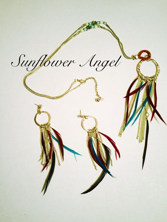 Dream catcher necklace and earring set, gift boxed, beautiful present.