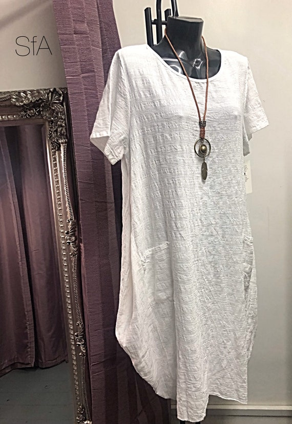 Lagenlook cotton, cheese cloth dress, with free necklace. Plus size