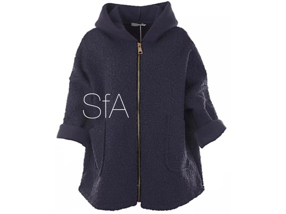 Textured wool, teddy bear feel,  soft hooded jacket, with pockets, size 10 12 14 16 18 20, 2XL