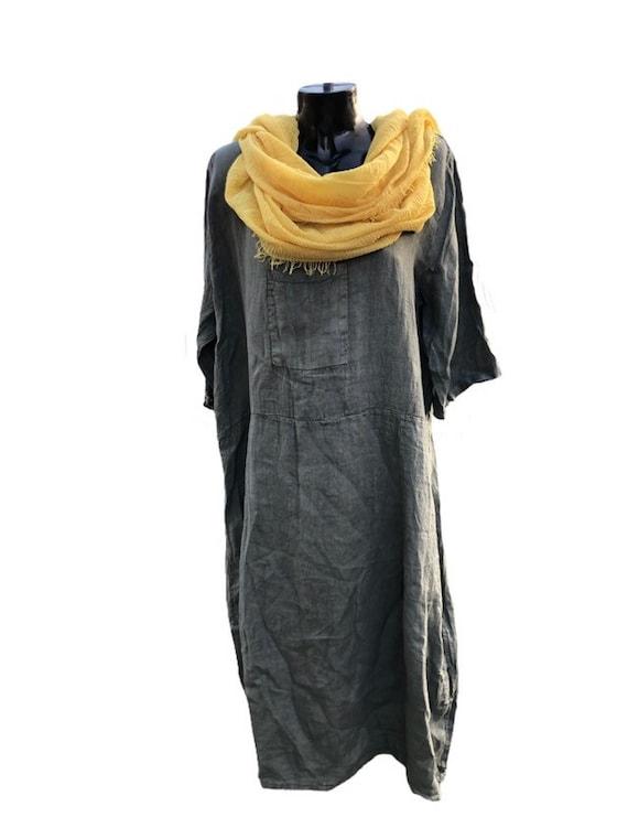 Lagenlook khaki long linen dress, square neck with front patch pocket. Plus size. 4XL