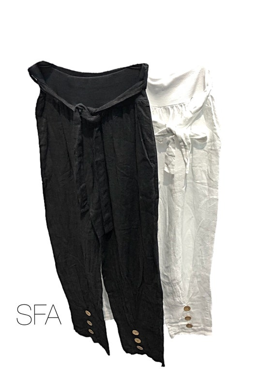 Linen pants, long length, with front button detail. In black or white Plus side XXL