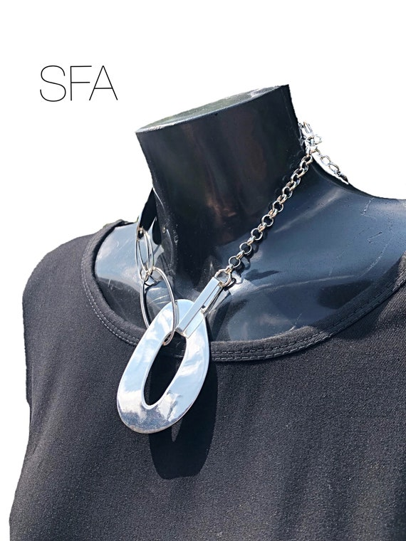Geo large oval necklace, with oval tag, on a silver belcher chain with lobster clasp and extension chain