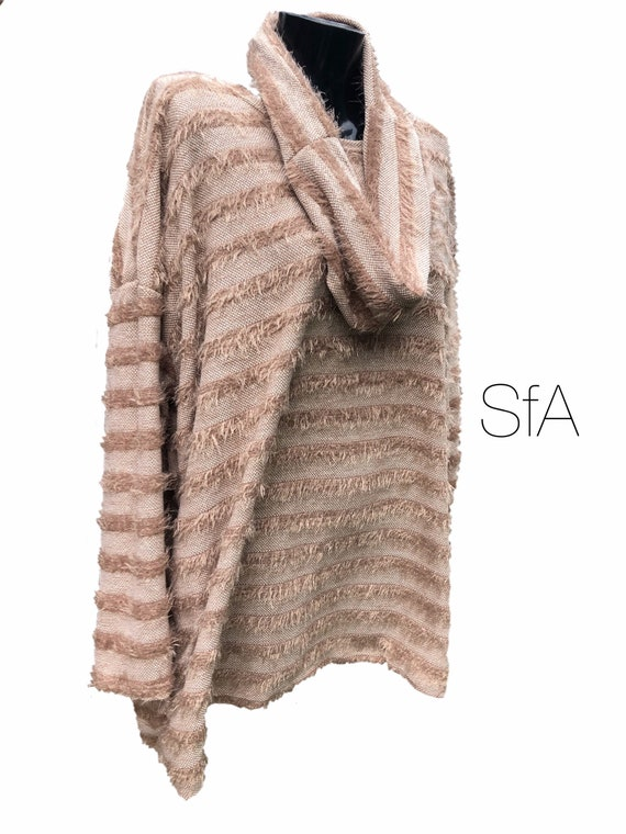 Stripped eyelash style jumper with matching scarf snood, size 3XL, in 3 colours