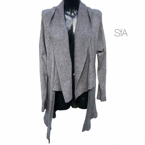 Waterfall long cardigan coat, with short front. Size 3XL, IN Grey OR BLack