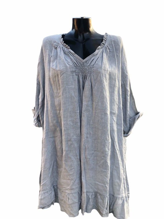 Lagenlook quirky 100% quality linen tunic or dress, with frill collar and gathered front. 4XL