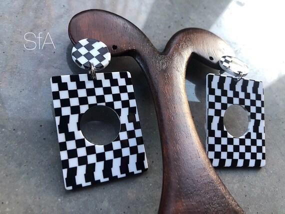 Lagenlook cheaque a board ska earrings. Acrylic earrings. For pierced ears.
