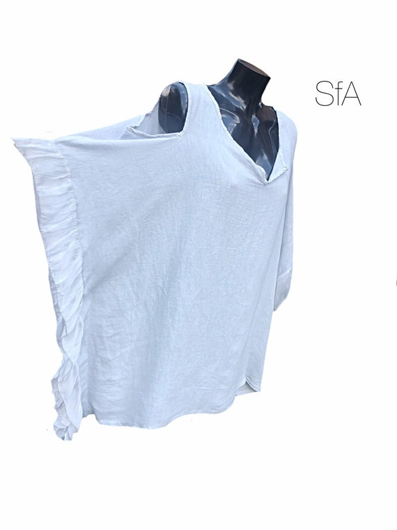Lagenlook linen, tunic, top, with silk embroidered frill bat winged arm and cold shoulder. In 3 colours. 4XL