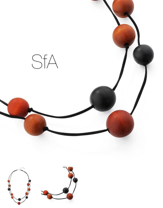 Lagenlook, double of wooden colourful ball necklace. In tan and black.