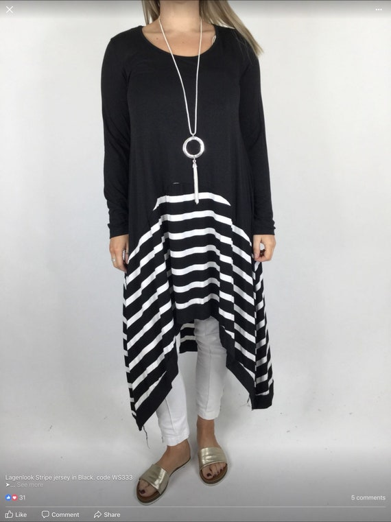 Stripped high low dress in 2 colours, grey or black with white stripes. Nautical feel. Last one