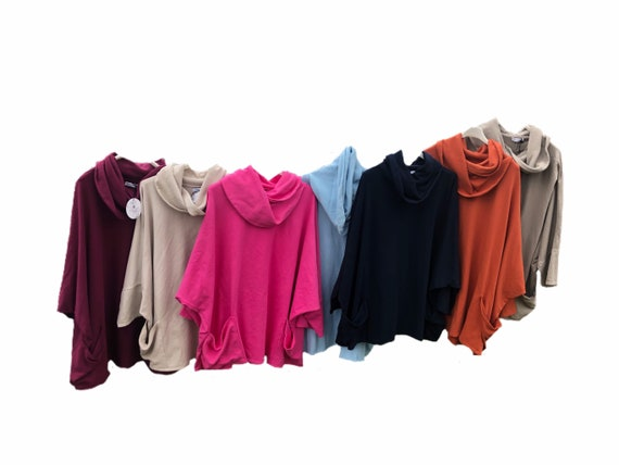 Lagenlook picasso sweatshirt with large collar, plus size 14-26, in 10 colours