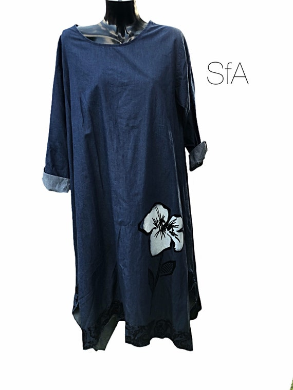 Stunning lagenlook denim, chambrey dress, with painted white flower. Size 12, 14, 16, size 2XL
