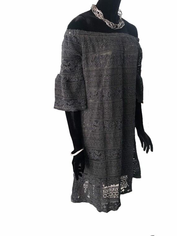 Charcoal and khaki lace dress over khaki lining. Size 10-14 UK size large
