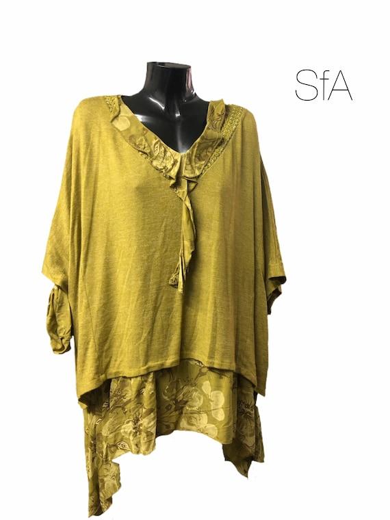 Lagenlook 2 piece tunic set, quirky blouse with fine knit over top. Plus size XXXL, Uk size 14, 16, 18, 20, 22, 24, 26 plus