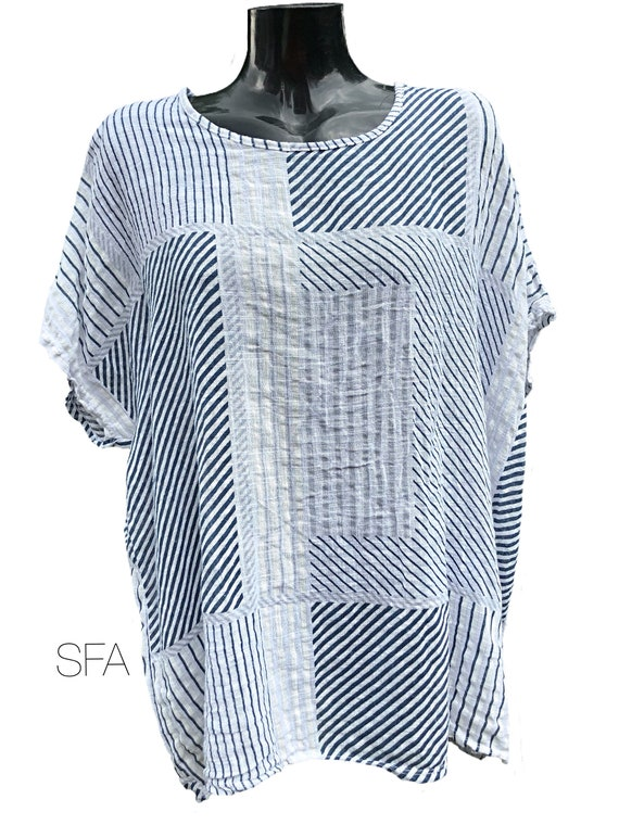 Lagenlook ladies cotton tunic, with patchwork stripped print, plus size. In 4 colours XXXL