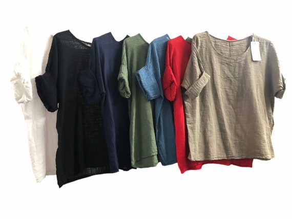 Lagenlook basic top, tunic, blouse, 100% cotton. In 8 different colours. Size 10, 12, 14, 16.UK XL