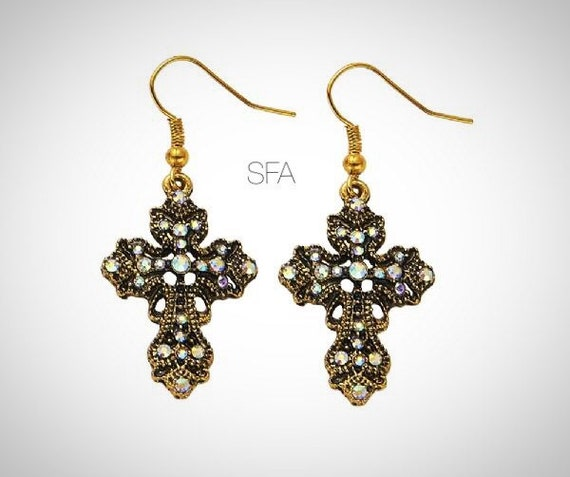 Ornate vintage style crucifix earrings, in brass backing with crystals