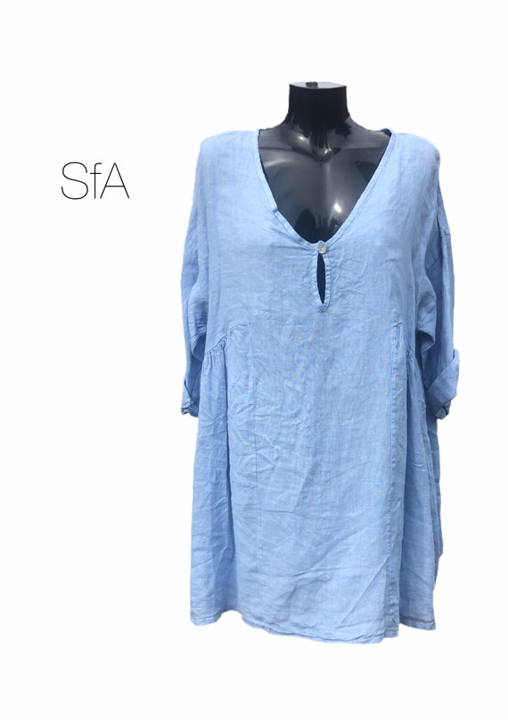 Lagenlook quirky 100% quality linen dress or tunic, with gathered panel sides and deep key hole v-neck. Plus size 4XL