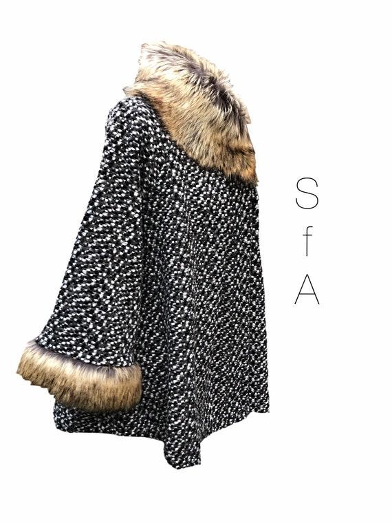 Lagenlook faux fur collar, 2 different coloured jackets, jacket, coat, coatigan with 3/4 high zip 3XL